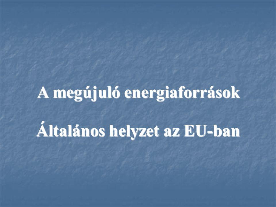 A megújuló energiaforrások Általános helyzet az EU-ban