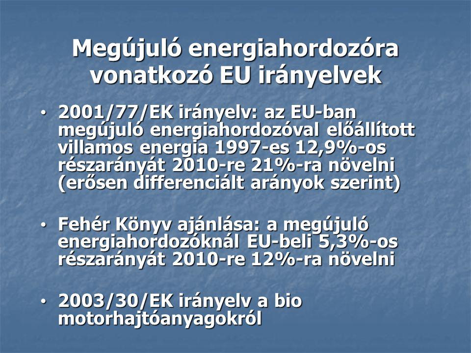 Megújuló energiahordozóra vonatkozó EU irányelvek