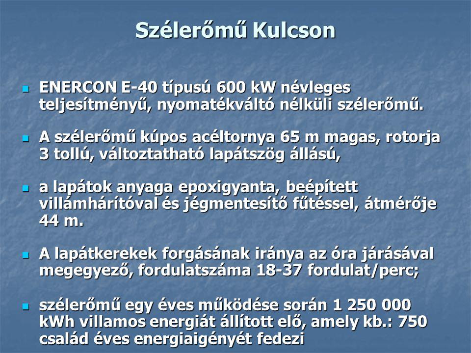 Szélerőmű Kulcson ENERCON E-40 típusú 600 kW névleges teljesítményű, nyomatékváltó nélküli szélerőmű.