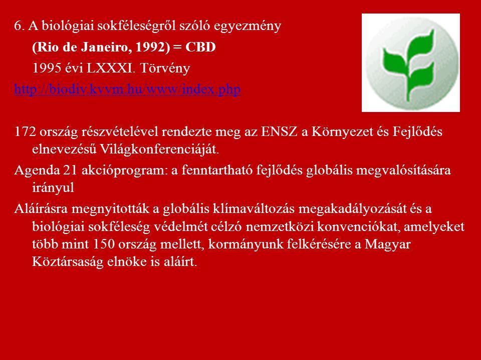 6. A biológiai sokféleségről szóló egyezmény