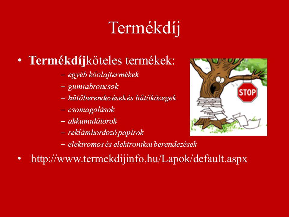 Termékdíj Termékdíjköteles termékek: