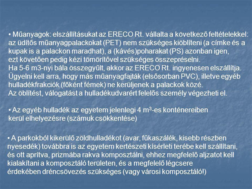Műanyagok: elszállításukat az ERECO Rt