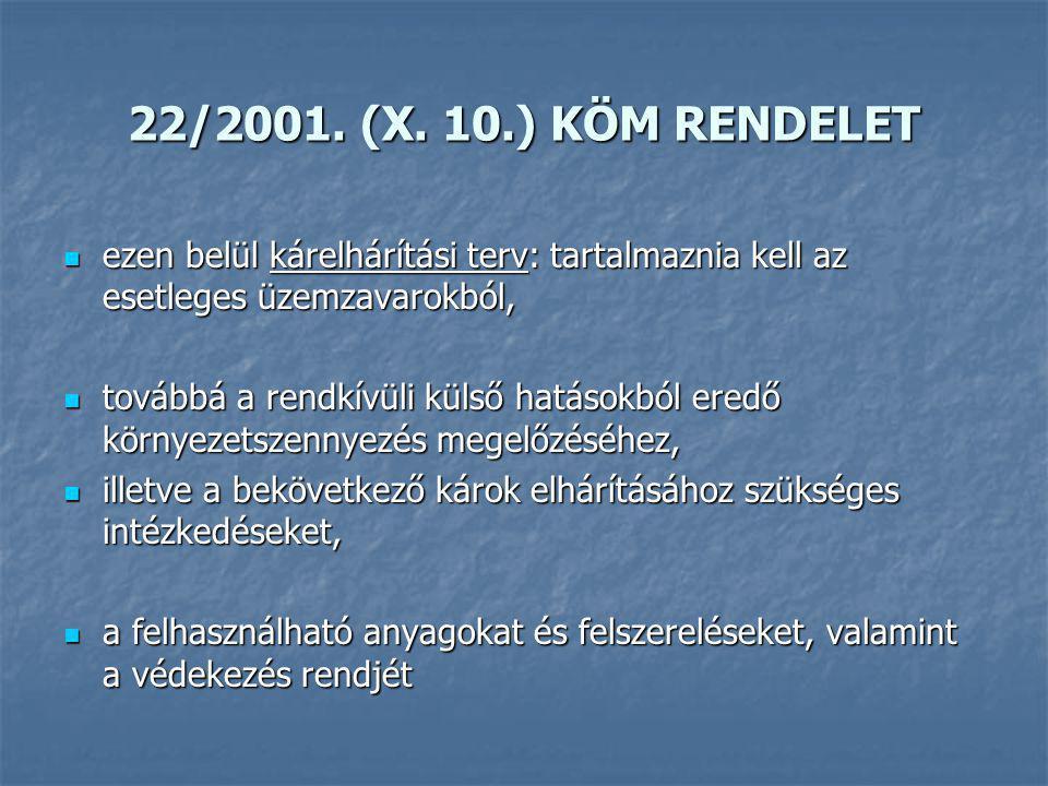 22/2001. (X. 10.) KÖM RENDELET ezen belül kárelhárítási terv: tartalmaznia kell az esetleges üzemzavarokból,