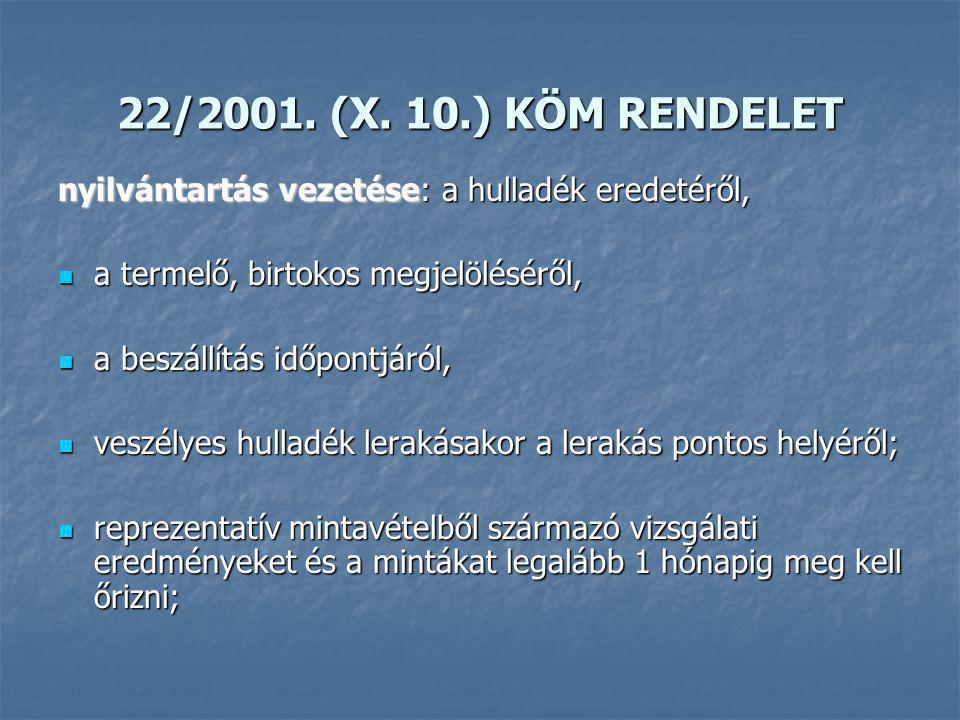 22/2001. (X. 10.) KÖM RENDELET nyilvántartás vezetése: a hulladék eredetéről, a termelő, birtokos megjelöléséről,