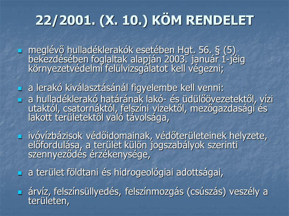 22/2001. (X. 10.) KÖM RENDELET
