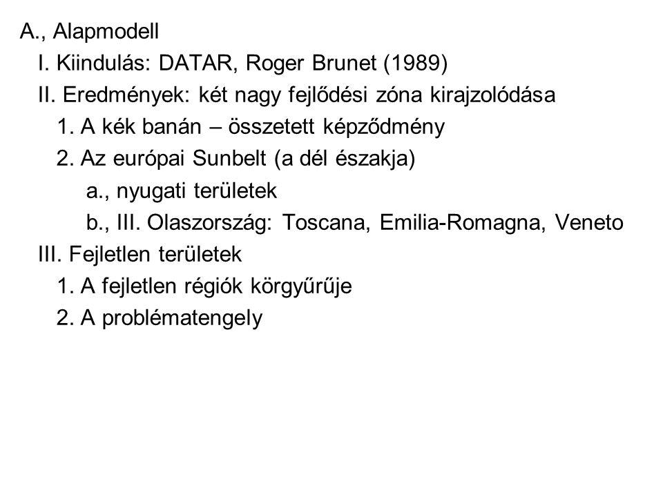 A., Alapmodell I. Kiindulás: DATAR, Roger Brunet (1989) II. Eredmények: két nagy fejlődési zóna kirajzolódása.