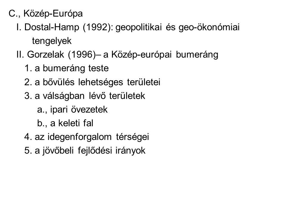 C., Közép-Európa I. Dostal-Hamp (1992): geopolitikai és geo-ökonómiai. tengelyek. II. Gorzelak (1996)– a Közép-európai bumeráng.