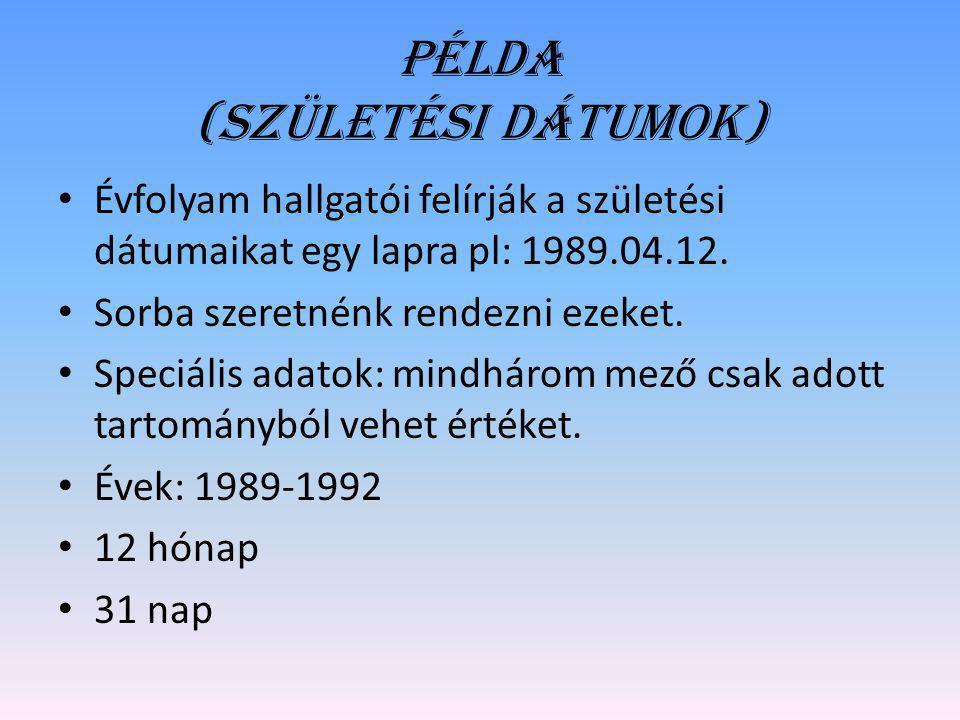 Példa (Születési dátumok)