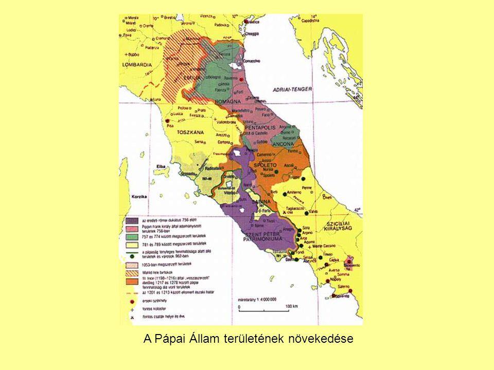 A Pápai Állam területének növekedése