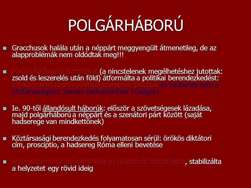 POLGÁRHÁBORÚ Gracchusok halála után a néppárt meggyengült átmenetileg, de az alapproblémák nem oldódtak meg!!!