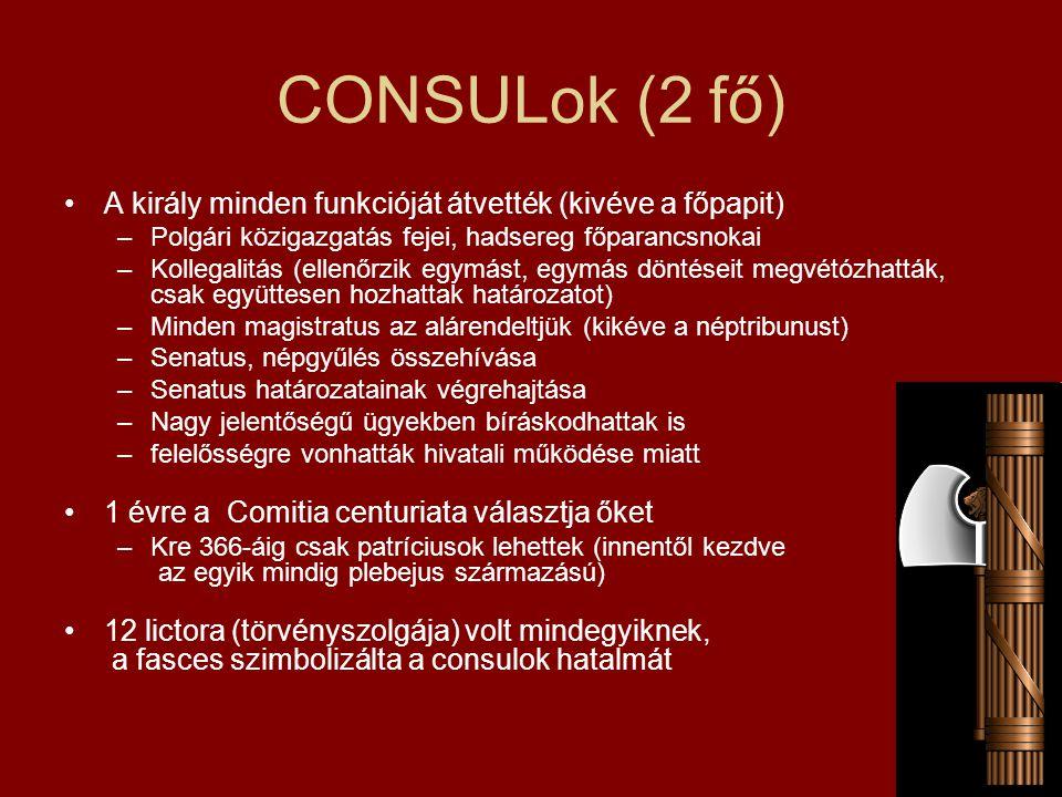 CONSULok (2 fő) A király minden funkcióját átvették (kivéve a főpapit)