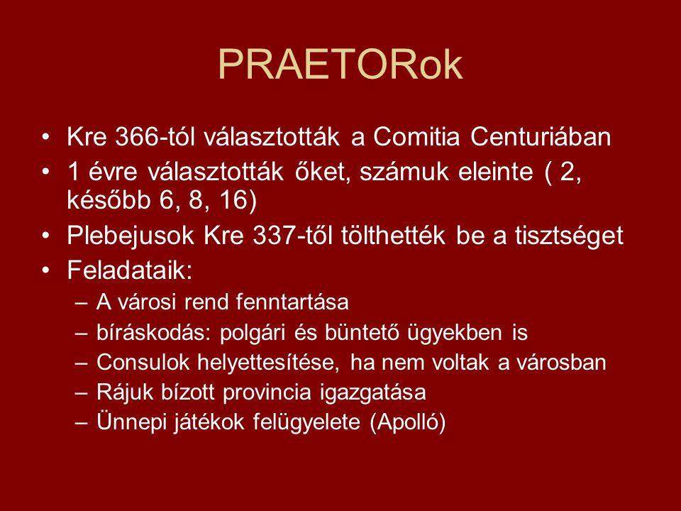 PRAETORok Kre 366-tól választották a Comitia Centuriában
