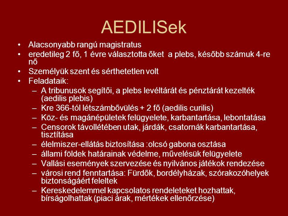 AEDILISek Alacsonyabb rangú magistratus
