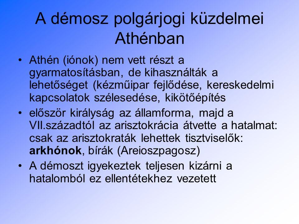A démosz polgárjogi küzdelmei Athénban
