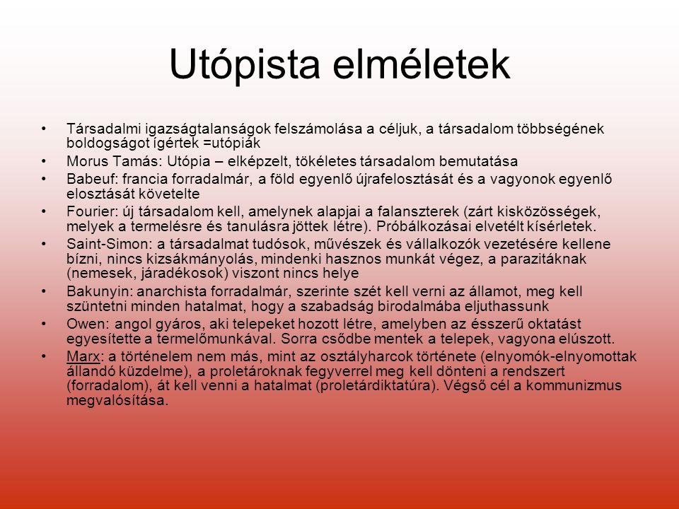 Utópista elméletek Társadalmi igazságtalanságok felszámolása a céljuk, a társadalom többségének boldogságot ígértek =utópiák.