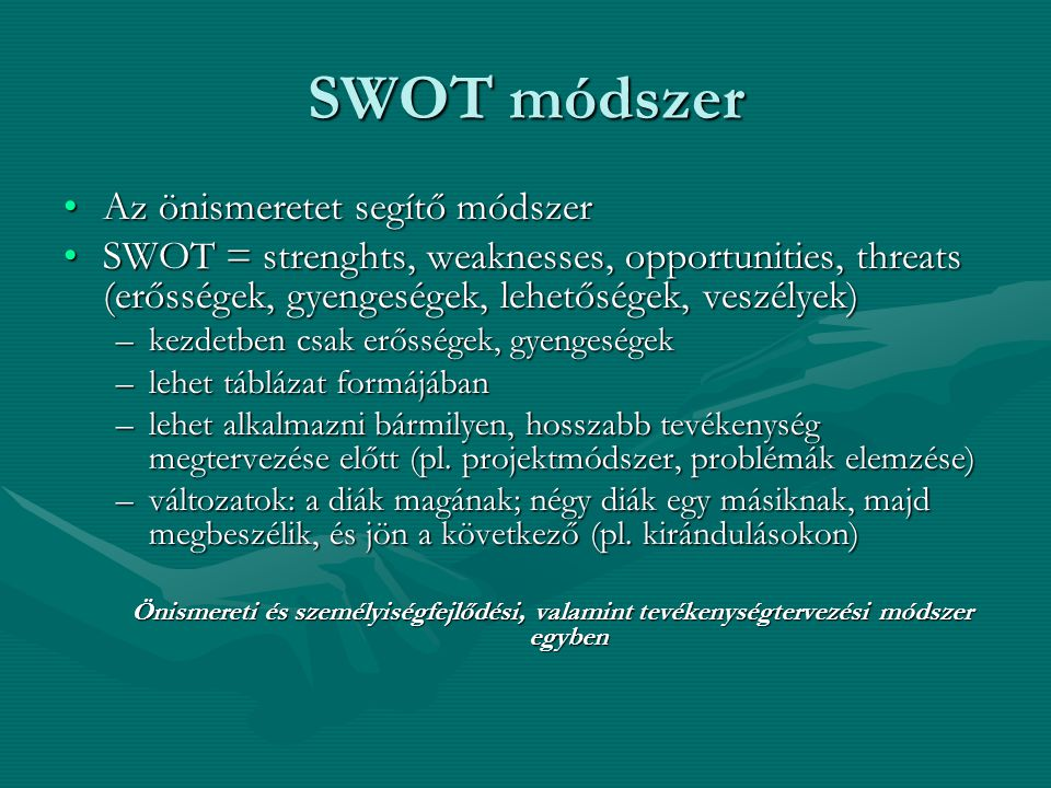 SWOT módszer Az önismeretet segítő módszer