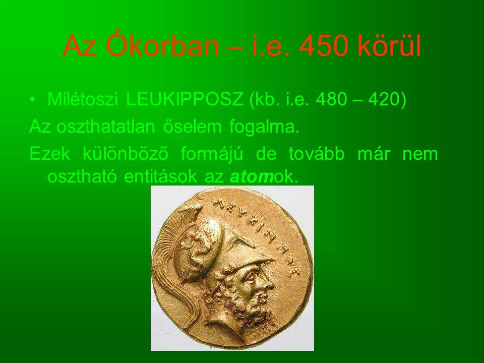 Az Ókorban – i.e. 450 körül Milétoszi LEUKIPPOSZ (kb. i.e. 480 – 420)