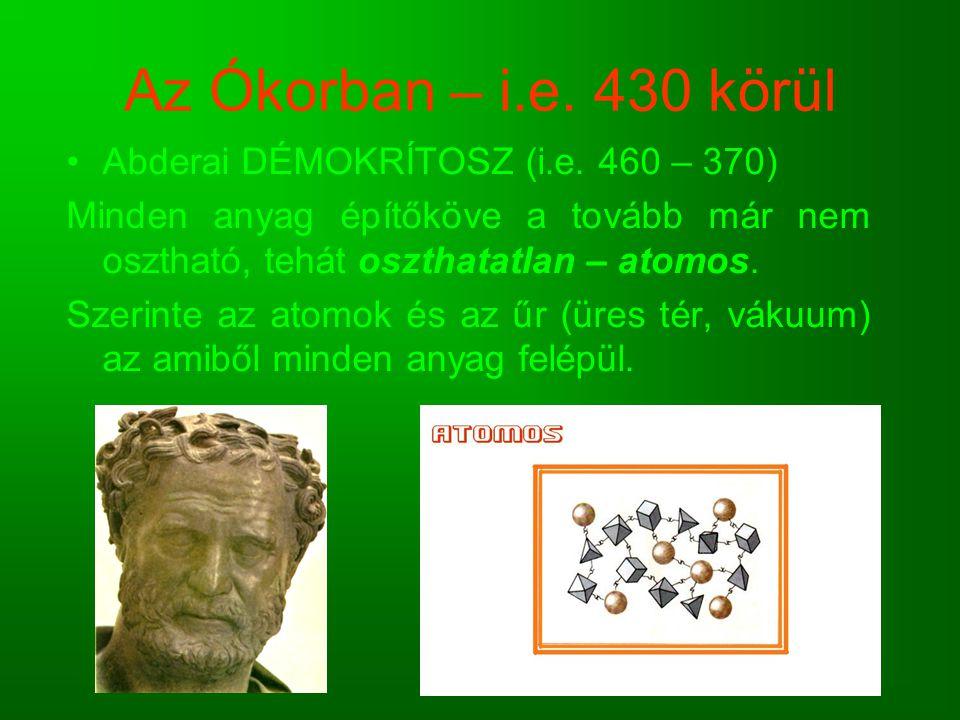 Az Ókorban – i.e. 430 körül Abderai DÉMOKRÍTOSZ (i.e. 460 – 370)