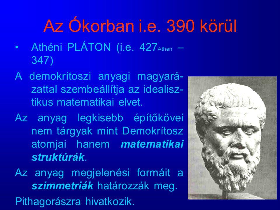 Az Ókorban i.e. 390 körül Athéni PLÁTON (i.e. 427Athén – 347)