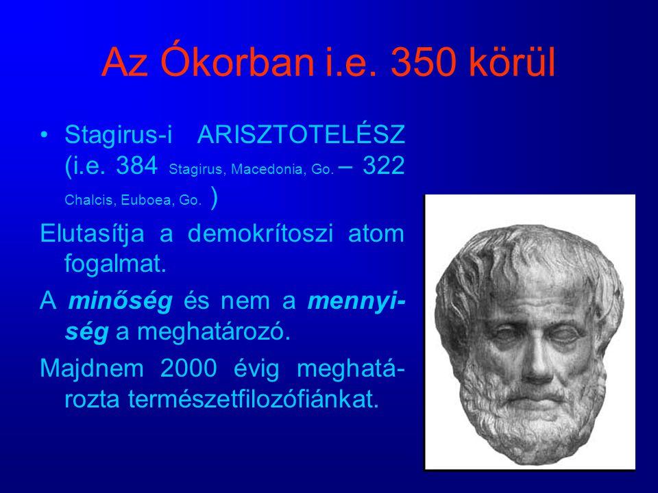 Az Ókorban i.e. 350 körül Stagirus-i ARISZTOTELÉSZ (i.e. 384 Stagirus, Macedonia, Go. – 322 Chalcis, Euboea, Go. )
