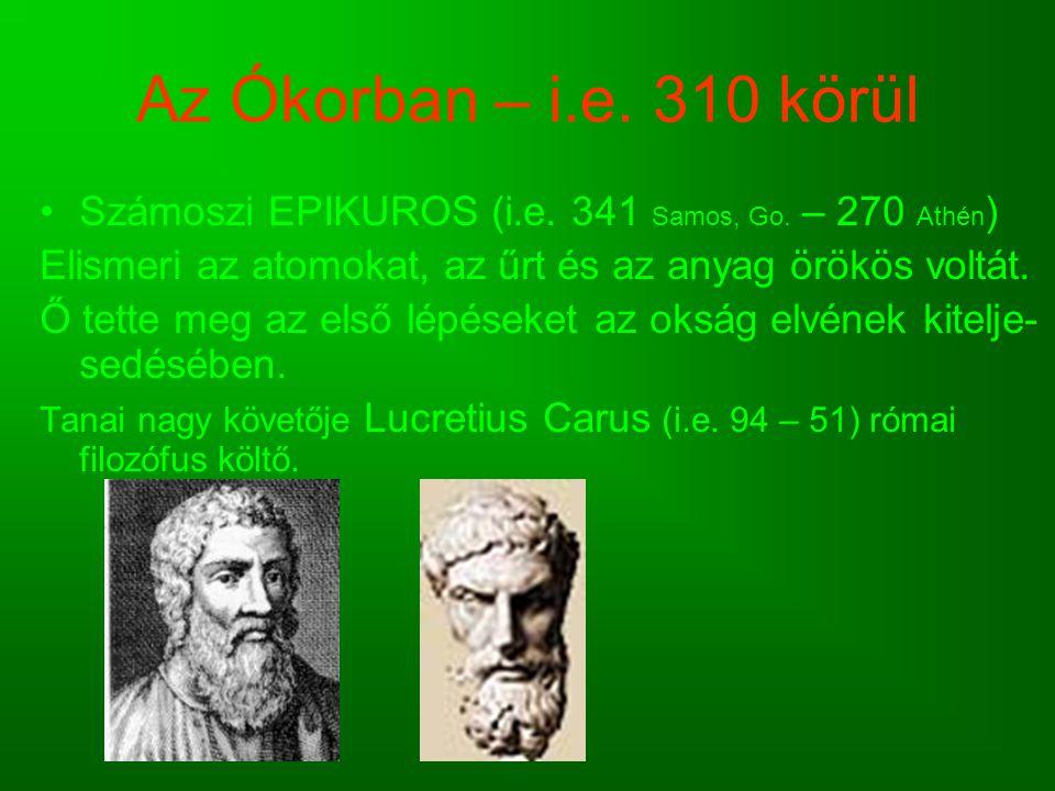 Az Ókorban – i.e. 310 körül Számoszi EPIKUROS (i.e. 341 Samos, Go. – 270 Athén) Elismeri az atomokat, az űrt és az anyag örökös voltát.