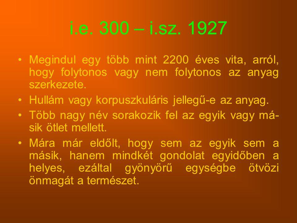 i.e. 300 – i.sz. 1927 Megindul egy több mint 2200 éves vita, arról, hogy folytonos vagy nem folytonos az anyag szerkezete.