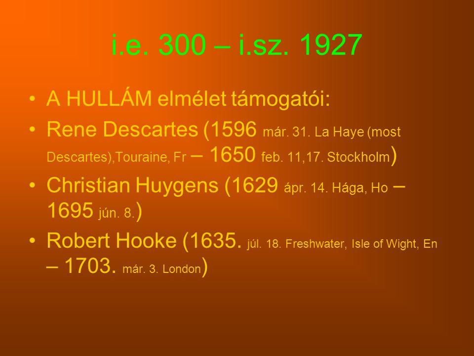 i.e. 300 – i.sz. 1927 A HULLÁM elmélet támogatói: