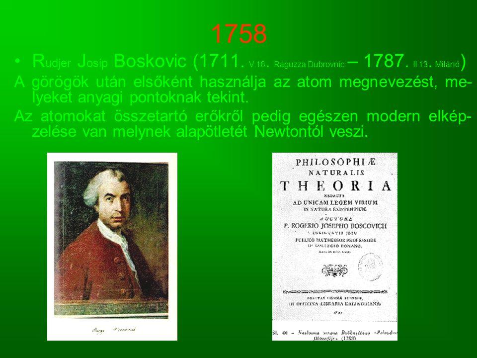 1758 Rudjer Josip Boskovic (1711. V.18. Raguzza Dubrovnic – 1787. II.13. Milánó)