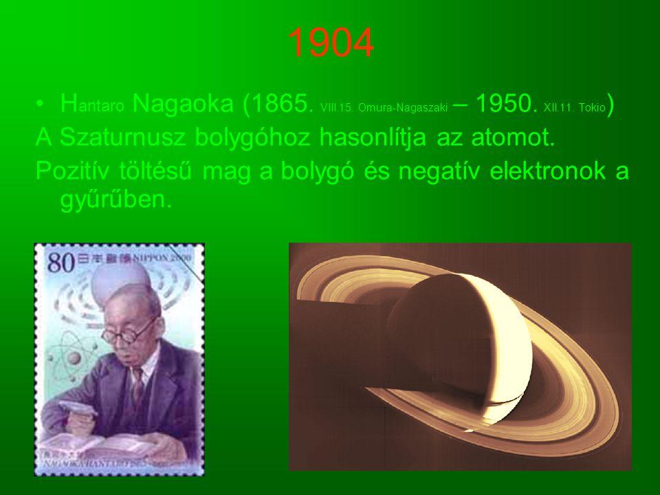 1904 Hantaro Nagaoka (1865. VIII.15. Omura-Nagaszaki – 1950. XII.11. Tokio) A Szaturnusz bolygóhoz hasonlítja az atomot.
