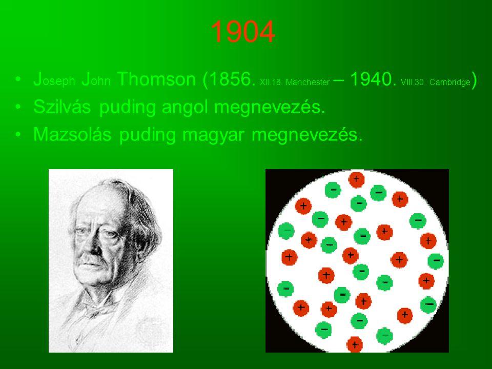 1904 Joseph John Thomson (1856. XII.18. Manchester – 1940. VIII.30. Cambridge) Szilvás puding angol megnevezés.