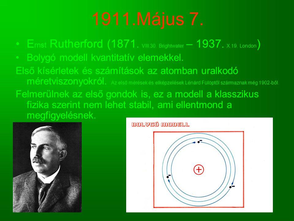 1911.Május 7. Ernst Rutherford (1871. VIII.30. Brightwater – 1937. X.19. London) Bolygó modell kvantitatív elemekkel.