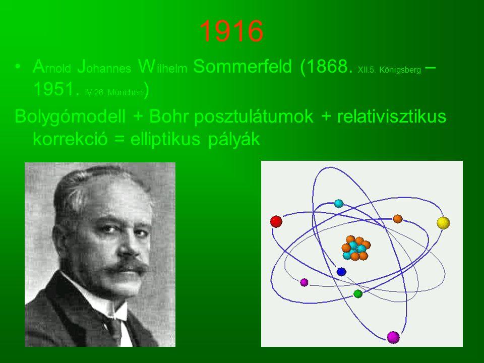 1916 Arnold Johannes Wilhelm Sommerfeld (1868. XII.5. Königsberg – 1951. IV.26. München)