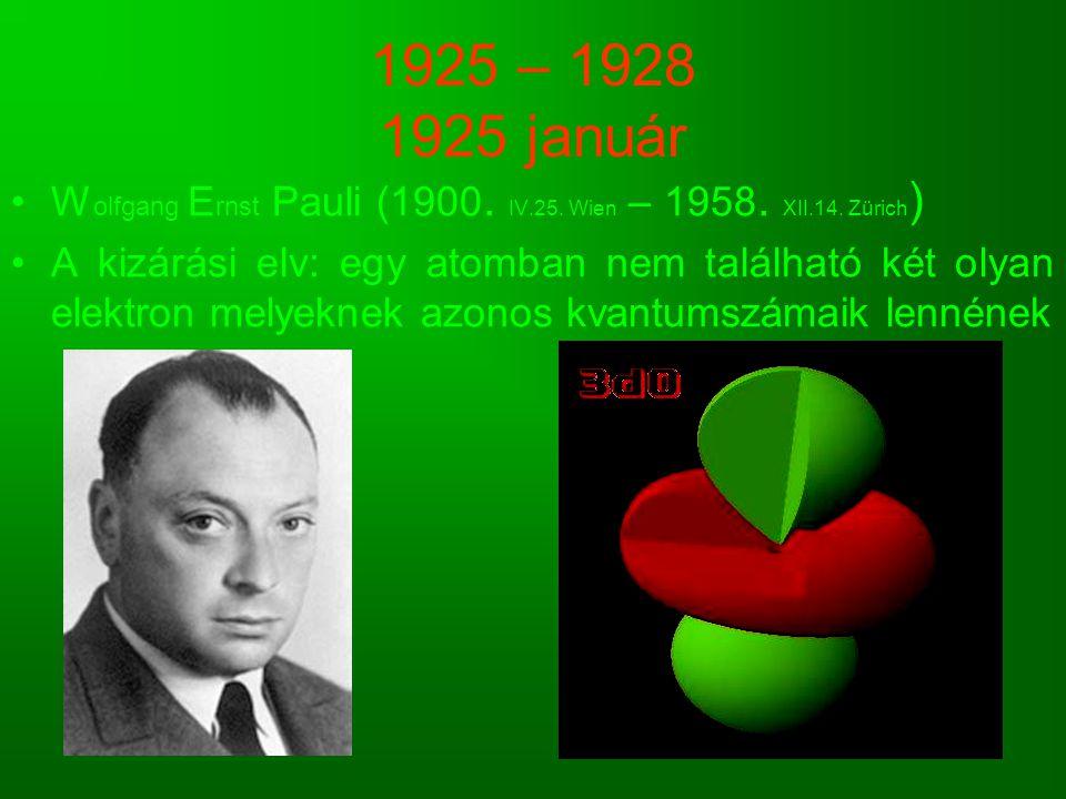 1925 – 1928 1925 január Wolfgang Ernst Pauli (1900. IV.25. Wien – 1958. XII.14. Zürich)