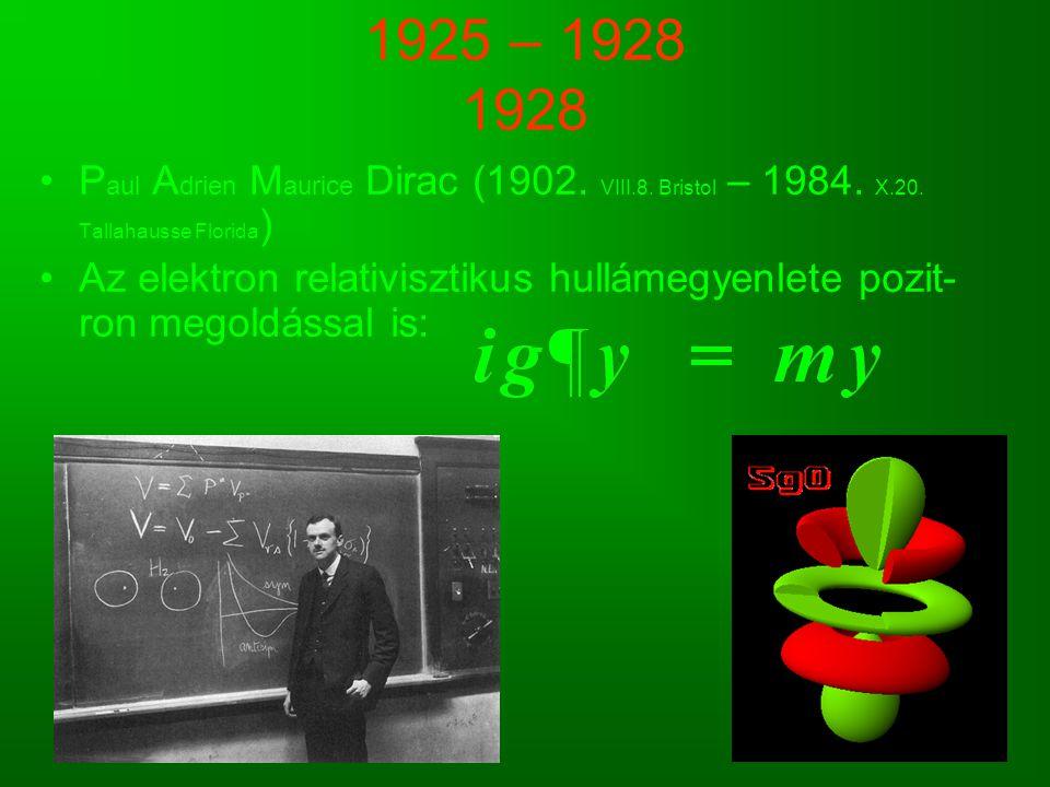 1925 – 1928 1928 Paul Adrien Maurice Dirac (1902. VIII.8. Bristol – 1984. X.20. Tallahausse Florida)