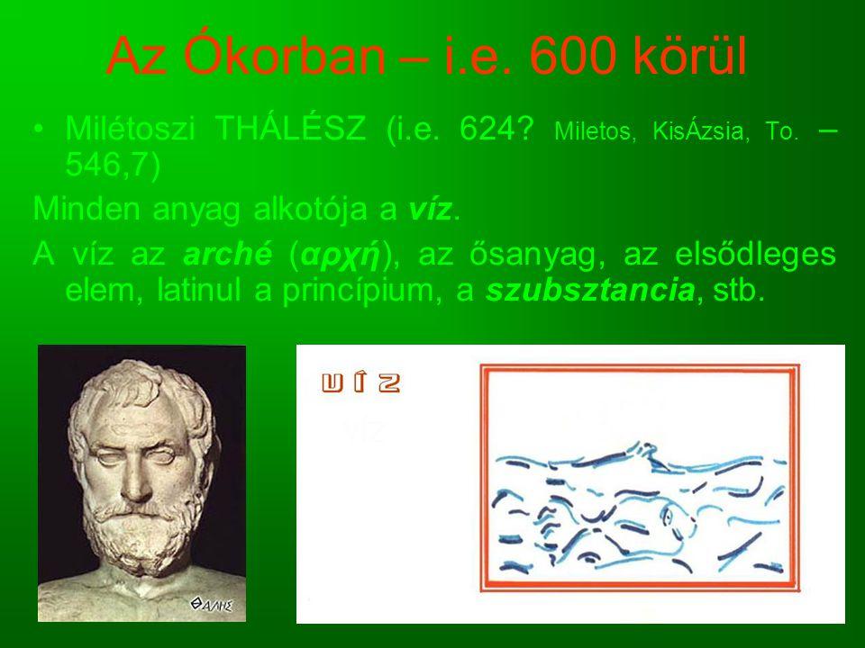 Az Ókorban – i.e. 600 körül Milétoszi THÁLÉSZ (i.e. 624 Miletos, KisÁzsia, To. – 546,7) Minden anyag alkotója a víz.