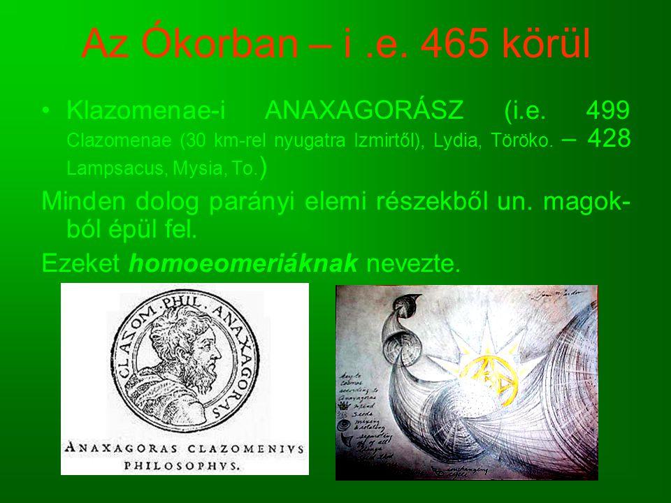 Az Ókorban – i .e. 465 körül Klazomenae-i ANAXAGORÁSZ (i.e. 499 Clazomenae (30 km-rel nyugatra Izmirtől), Lydia, Töröko. – 428 Lampsacus, Mysia, To.)