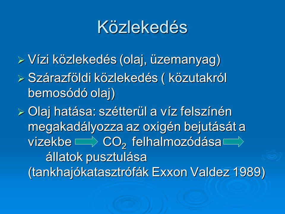 Közlekedés Vízi közlekedés (olaj, üzemanyag)