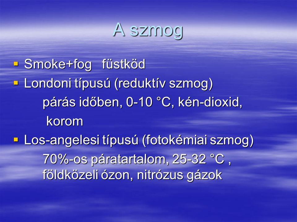 A szmog Smoke+fog füstköd Londoni típusú (reduktív szmog)
