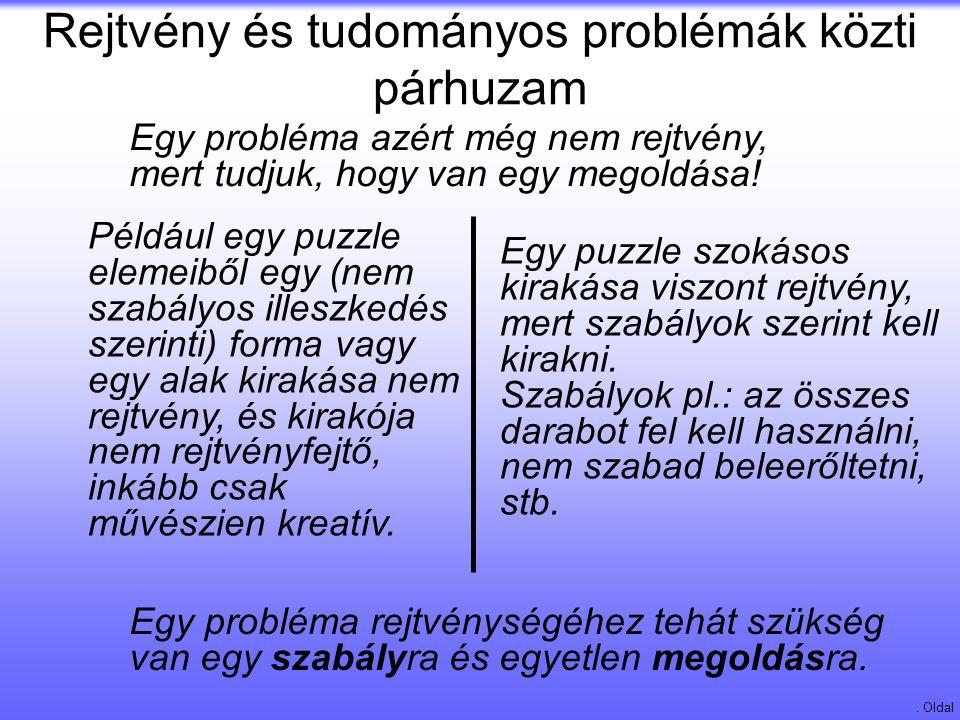 Rejtvény és tudományos problémák közti párhuzam