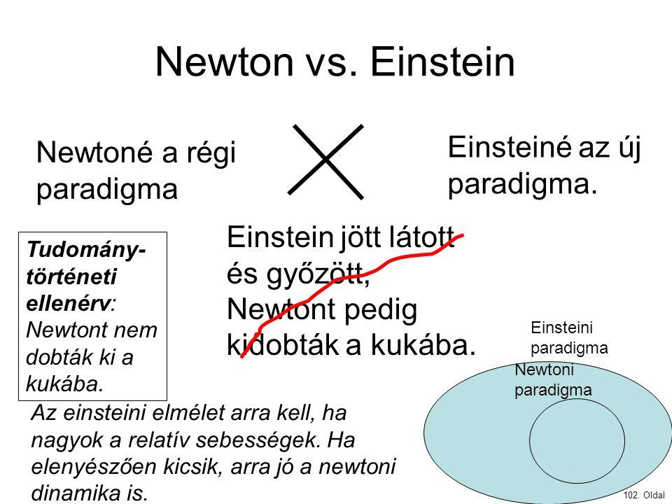 Newton vs. Einstein Einsteiné az új paradigma.