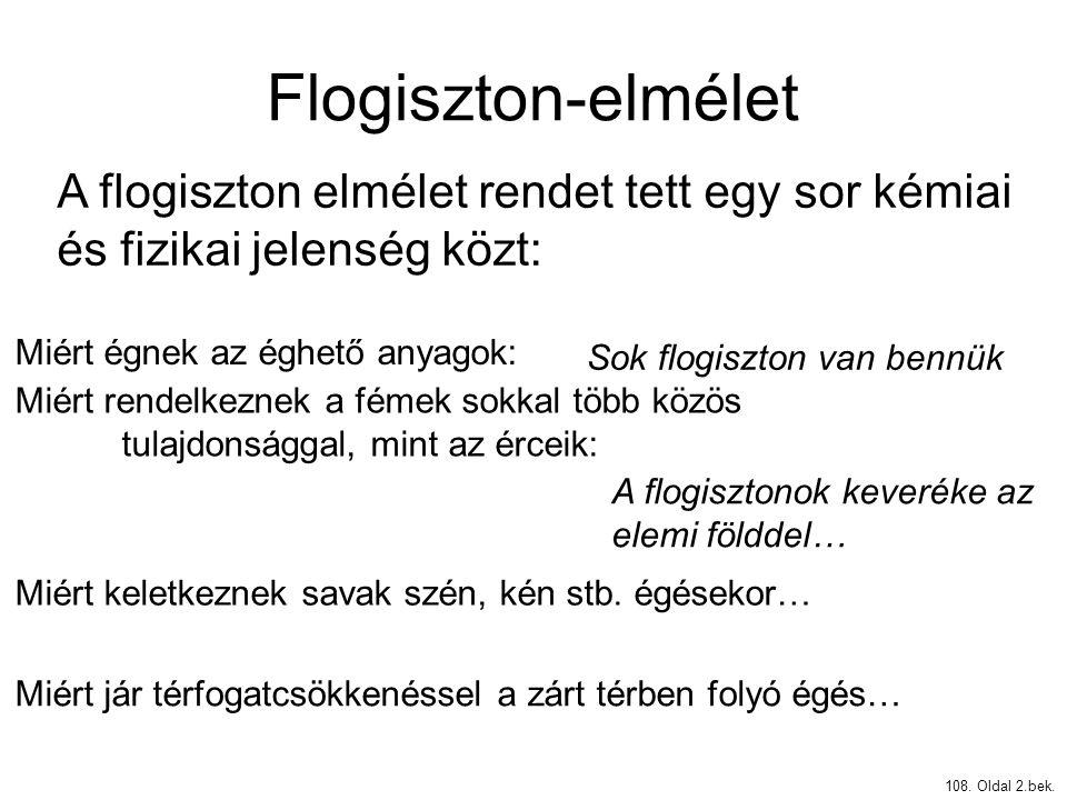 Flogiszton-elmélet A flogiszton elmélet rendet tett egy sor kémiai és fizikai jelenség közt: Miért égnek az éghető anyagok: