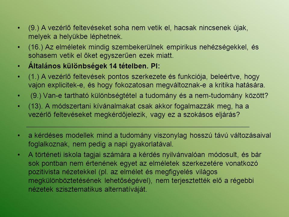 (9.) A vezérlő feltevéseket soha nem vetik el, hacsak nincsenek újak, melyek a helyükbe léphetnek.