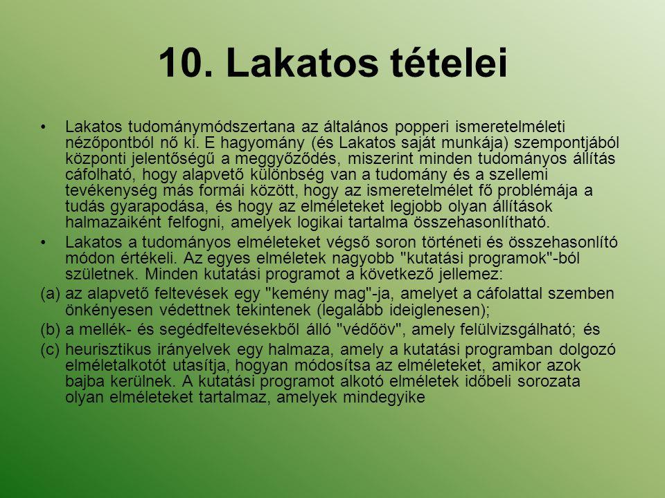 10. Lakatos tételei