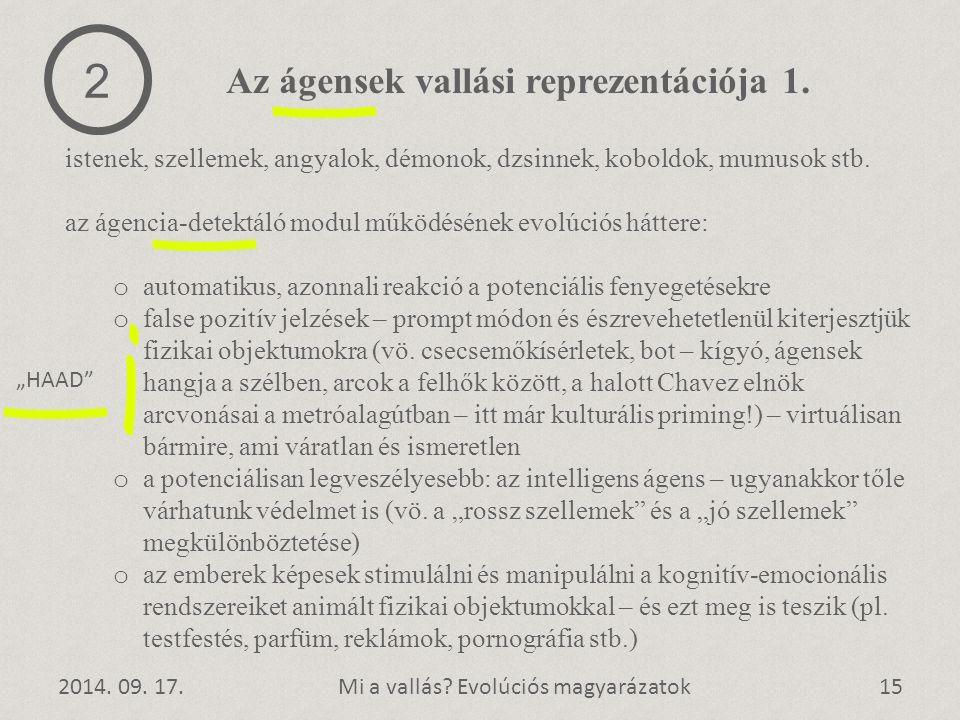 2 Az ágensek vallási reprezentációja 1.