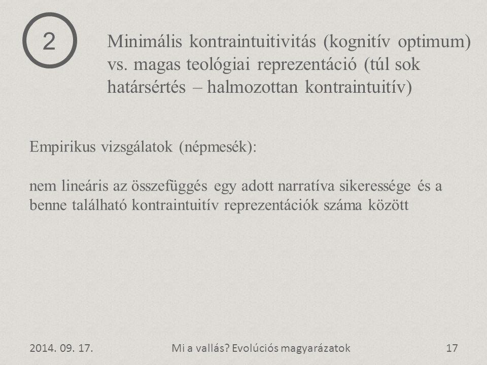 2 Minimális kontraintuitivitás (kognitív optimum) vs. magas teológiai reprezentáció (túl sok határsértés – halmozottan kontraintuitív)