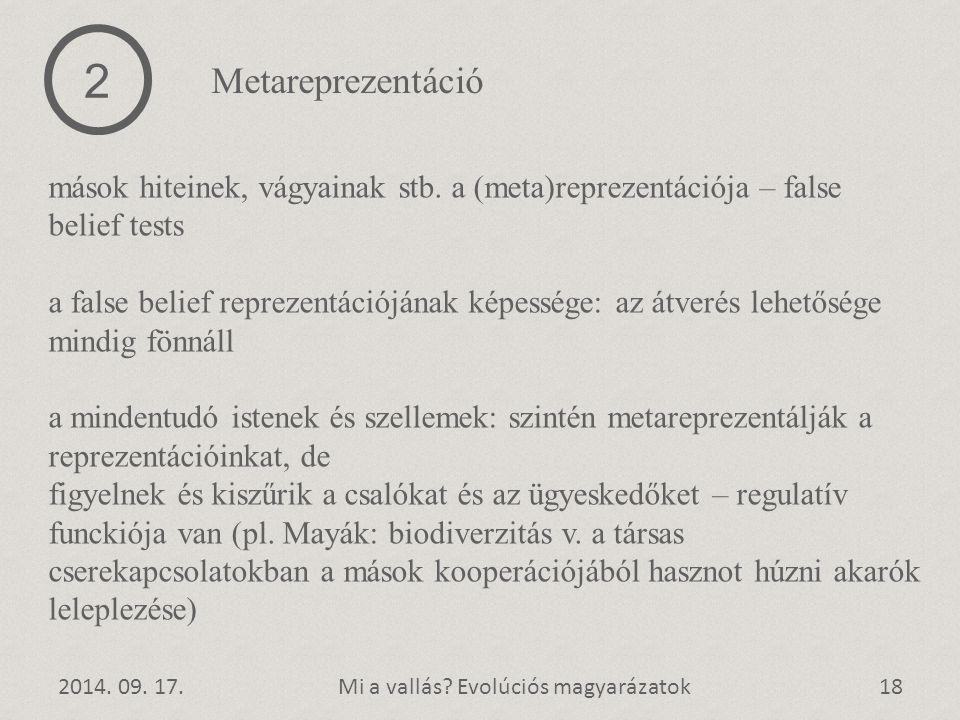 2 Metareprezentáció. mások hiteinek, vágyainak stb. a (meta)reprezentációja – false belief tests.