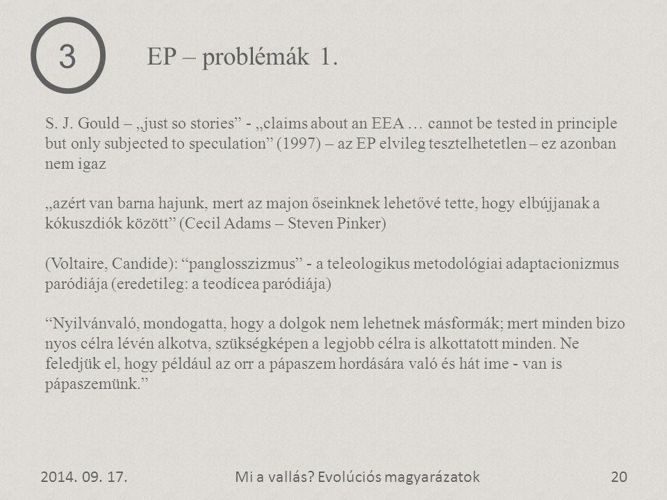 3 EP – problémák 1.