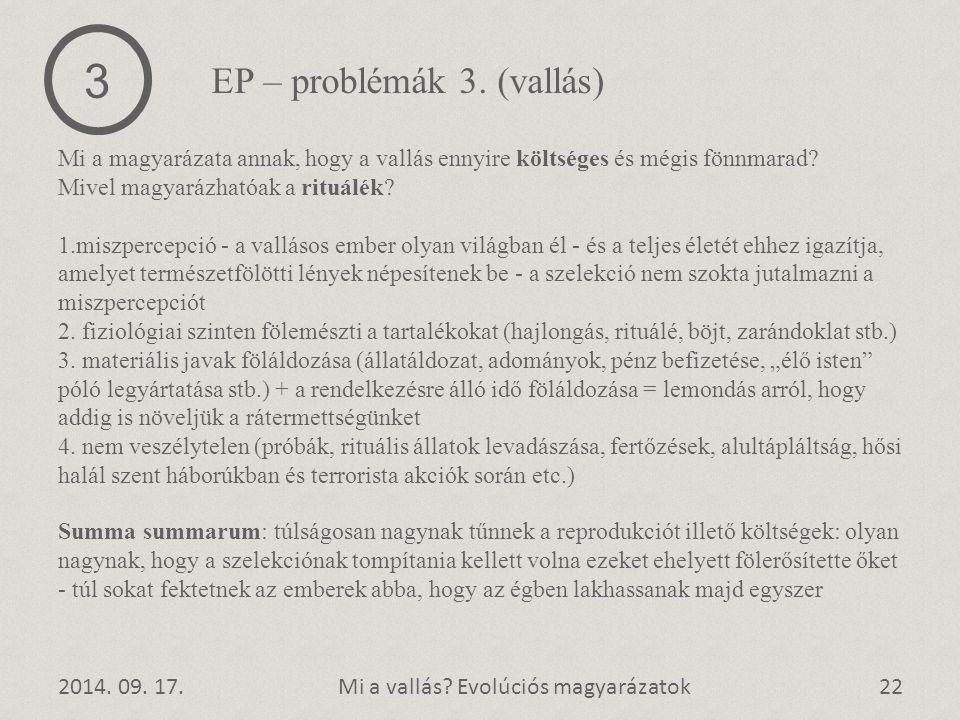 3 EP – problémák 3. (vallás)