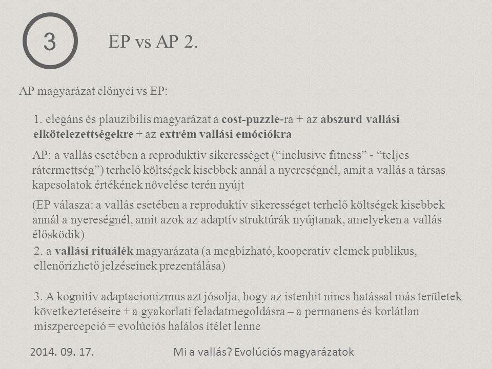 3 EP vs AP 2. AP magyarázat előnyei vs EP:
