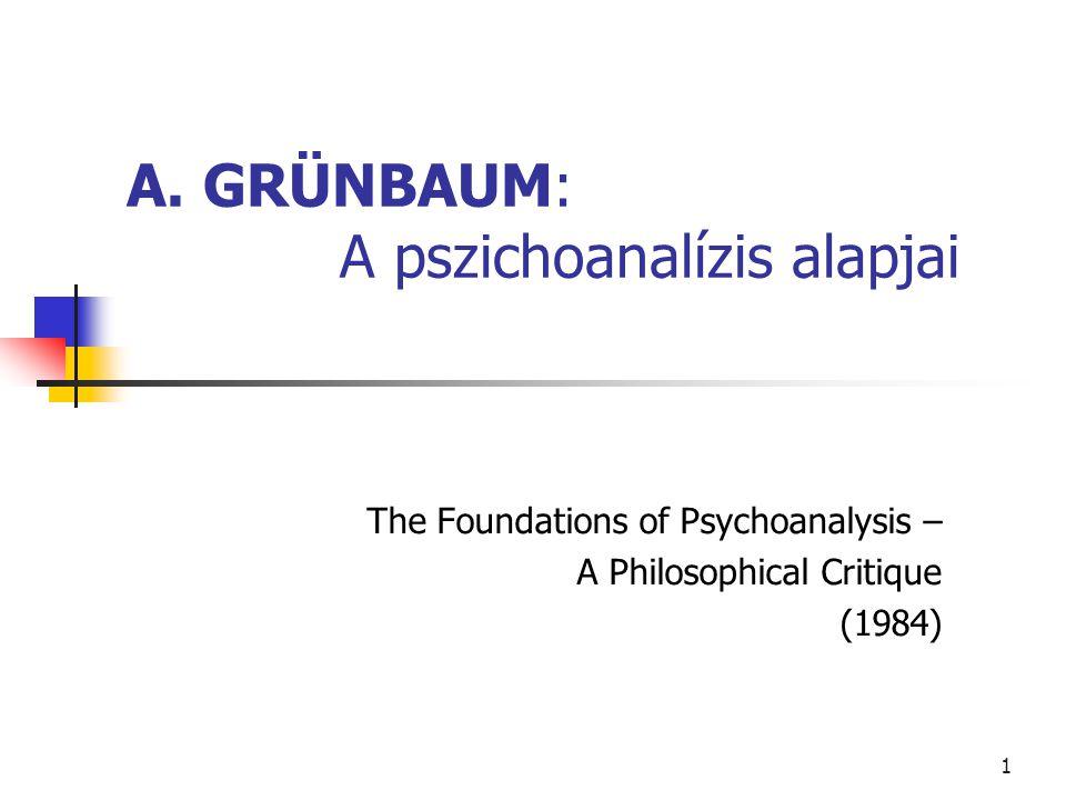 A. GRÜNBAUM: A pszichoanalízis alapjai